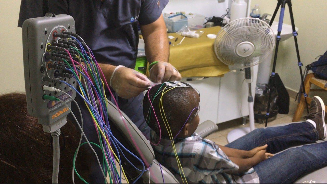Boy getting clinical EEG, Cadwell Neurology